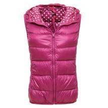 Light Thin Down Coat Waistcoat Polka Dot Vest Woman   rose red   S - $36.99