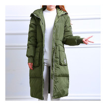 Winter Hoodied Loose Middle Long Down Coat    army green   S - $112.99