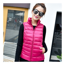 Light Thin Down Coat Waistcoat Short Stand Collar Vest Woman    rose red   S - $39.99