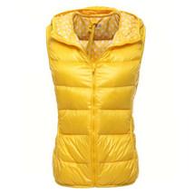 Light Thin Down Coat Waistcoat Polka Dot Vest Woman   yellow   S - $36.99