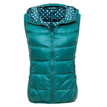 Light Thin Down Coat Waistcoat Polka Dot Vest Woman    emerald green    S - $36.99