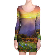 Perfect Mountain Sunset Longsleeve Bodycon Dress - $36.99+