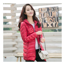 Light Thin Down Coat Woman Middle Long Hoodied    Chinese red   S  - $55.99