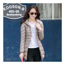 Light Thin Down Coat Woman Middle Long Hoodied    camel   S - $55.99