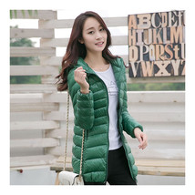 Light Thin Down Coat Woman Middle Long Hoodied    grass green   S - $55.99