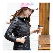Woman Light Thin Down Coat Short Slim Hoodied    black   S - $46.99