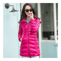 Light Thin Down Coat Woman Middle Long Hoodied    rose red    S - $55.99