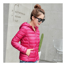Woman Light Thin Down Coat Short Slim Hoodied    rose red    S - $46.99