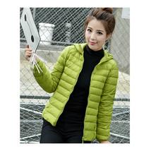 Woman Light Thin Down Coat Short Slim Hoodied    fruit green    S - $46.99