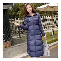 Winter Light Thin Down Slim Coat Extra Long Plus Size    navy    S - $118.99