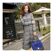 Winter Light Thin Down Slim Coat Extra Long Plus Size    silver grey  S  - $118.99