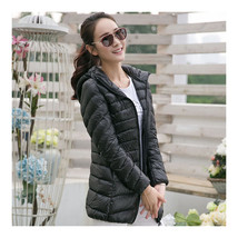 Light Thin Down Coat Woman Middle Long Hoodied    black    S - $55.99