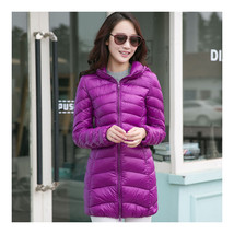 Light Thin Down Coat Woman Middle Long Hoodied    purple    S - $55.99