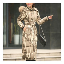 Big Fur Collar Plus Size Extra Long Thick Slim Down Coat    camouflage    S - $124.99