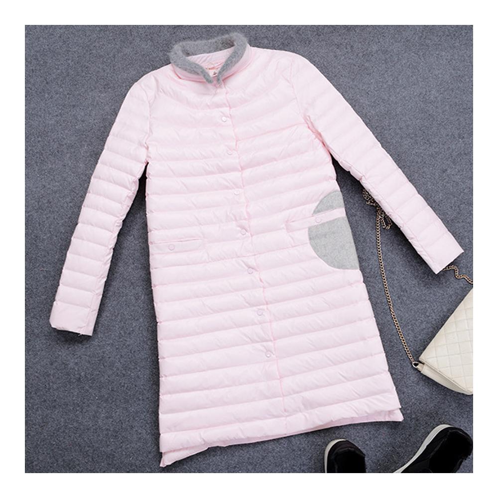 Woman Middle Long Down Coat Light Thin Slim    light pink    S - $85.99