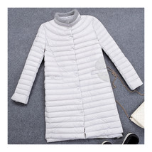 Woman Middle Long Down Coat Light Thin Slim    light grey   S - $85.99