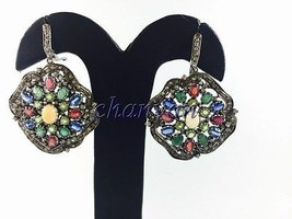 Vintage Look 2.00Ct Rose Cut Diamond Sterling Silver Multicolor Pave Ear... - $550.00