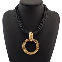 UKMOC Vintage Statement Jewelry Alloy Circle Pendant Necklace For Women Black Le - $13.73