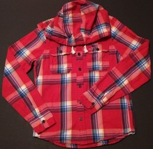 HOLLISTER - Red Plaid Button-up Hoodie - Men's Size: MEDIUM - $29.31