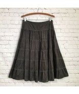 Sahalie Gray Tiered Micro Suede Full Skirt Woman's 8 Petite Side Zipper ... - $31.88