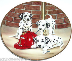 Dalmatians Fire Hat Firehouse Frolic Collector Plate Dog Puppies 1992 Vi... - $59.95