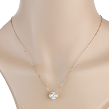 UE- Rose Tone Designer Pendant Necklace With Striking Faux White Sapphire Clover - $15.99