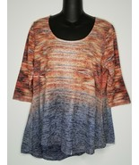 Live And Let Live Womens Scoop Neck Orange Blue 3/4 Sleeve Top Shirt Medium - $12.99