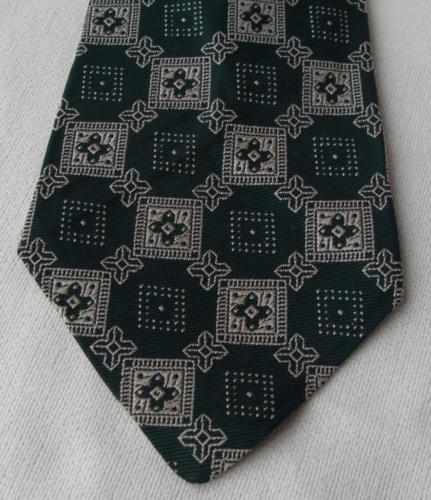 "Vintage Retro Clip On Men's Tie Dark Green Geometric 4"" wide"