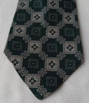 "Vintage Retro Clip On Men's Tie Dark Green Geometric 4"" wide"
