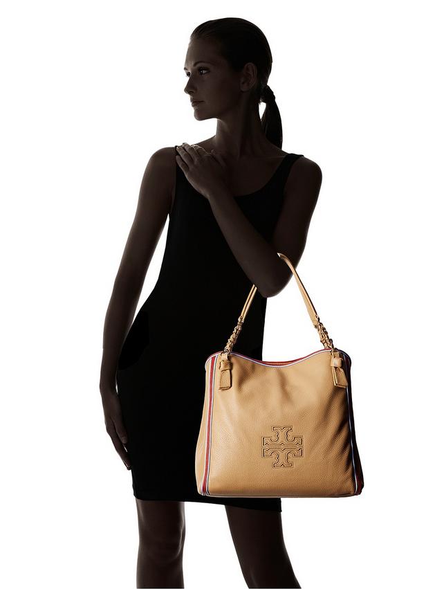 84fa8b298b68 Tory Burch Harper Stripe Tote Bag Center Zip Camel Tan Pebbled Leather  500