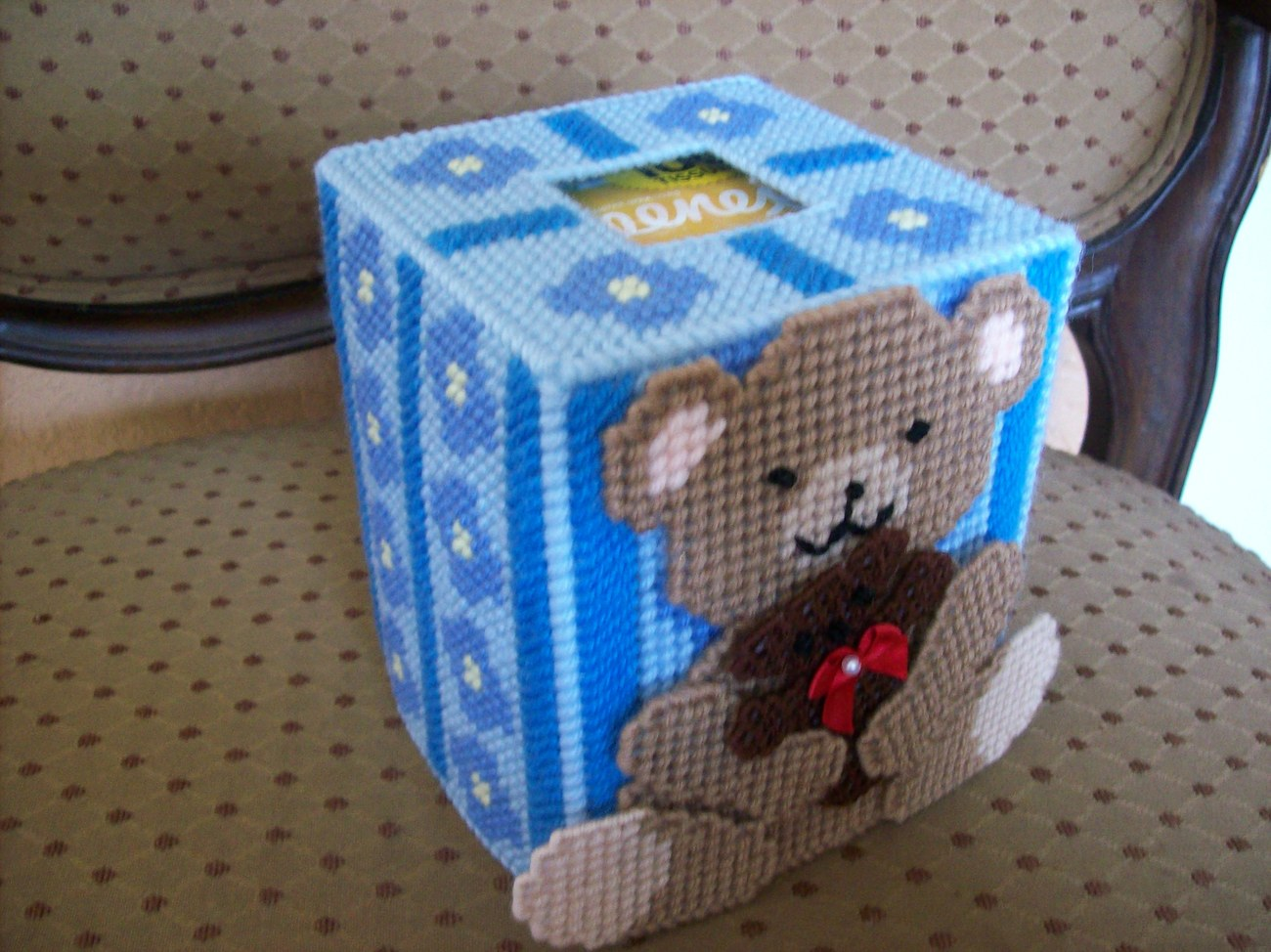 Plastic Canvas Teddy Bear Tissue Box Cover