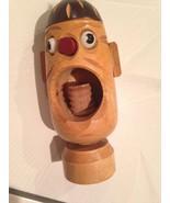 "Vintage Nut Cracker Wooden Folk Art Japan? Screw Type Wood Head 5 1/2"" Tall - $12.46"