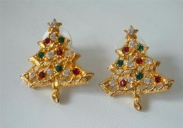 Vintage Rhinestones Xmas Tree Earrings Red & Green Gold plated Posts - $18.80