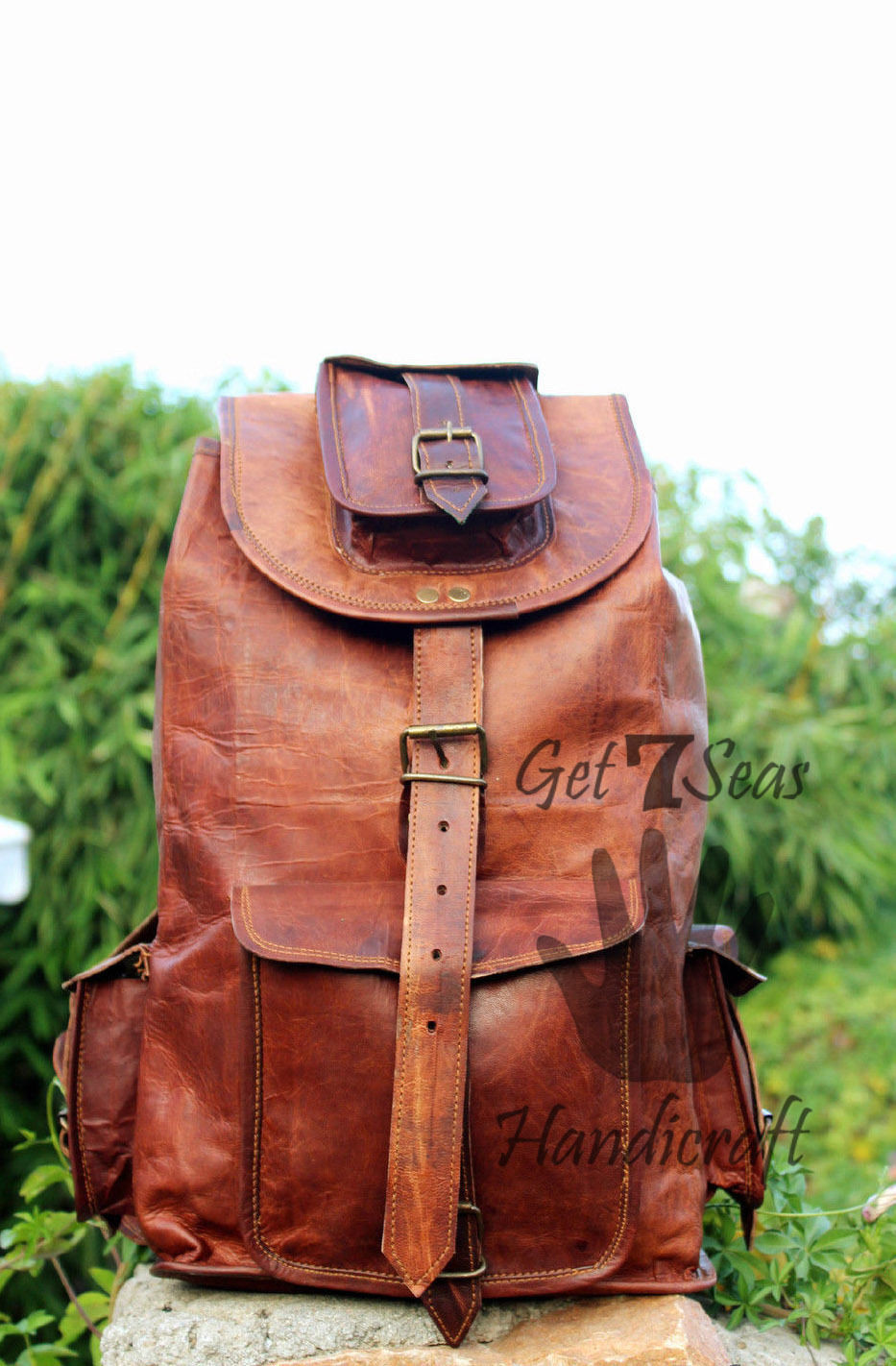Real genuine men's leather backpack bag laptop briefcase satchel brown vintage