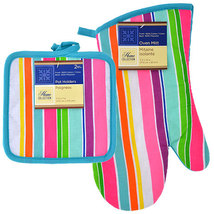 COLORFUL STRIPES OVEN MITT POTHOLDERS 3-pc Blue Pink Purple Striped Cott... - $12.99