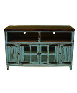 "60"" Turquoise TV Stand With Glass Doors Real Wood Rustic Western Console - $692.01"