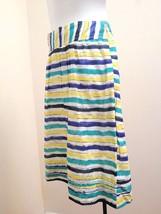 Ann Taylor Loft 4 Skirt Yellow Green Blue Stripe Aloha Lightweight Cotton - $16.64