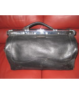 Vintage Black Leather Doctors Style Bag  - $89.10