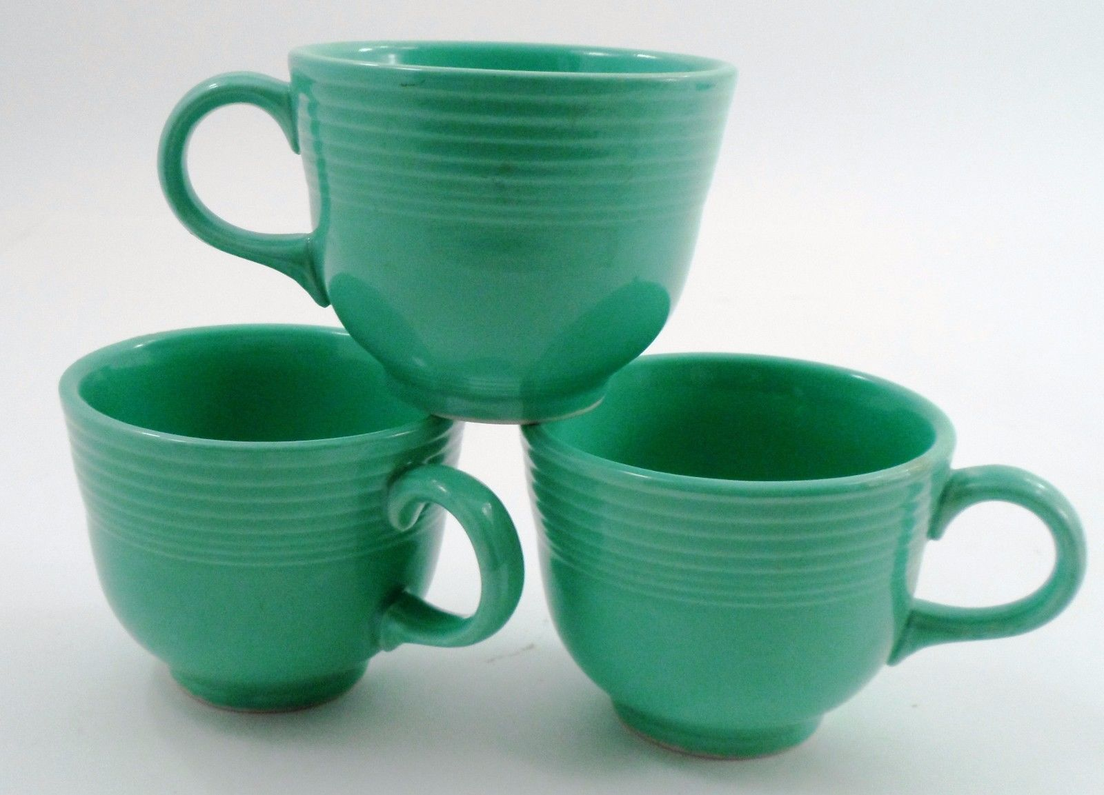 3 Clean EUC Homer Laughlin Fiesta Dinnerware Fiestaware Light Green Coffee Cups