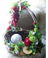 Silk Floral Arrangement Buffet Basket Decorative Functional Raspberry Li... - $89.00