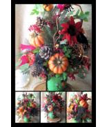 Halloween Floral Arrangement Monster Bash Frankenstein Ceramic Pot Neon ... - $69.00
