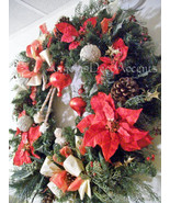 Large Christmas Wreath 32 by 32, LOCAL DELIVERY & BUS, Angel, Cording, V... - $289.00