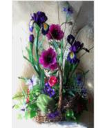 Garden Style Arrangement Silk Flowers Natural Look, Designer Silk Floral... - $79.00