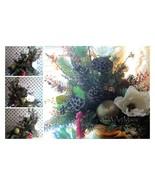 Magnolia & Fruit Arrangement Silk Floral Centerpiece Vintage Amber Color... - $219.00
