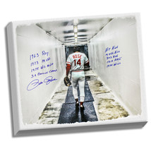 """Pete Rose Signed 28x35 Canvas In Tunnel w/ """"9"""" Insc. (Signed in Blue) - $765.00"""