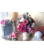Sweetheart Floral Arrangement & Faux Flower Tabletop Frame Gift Set~5 x ... - $139.00
