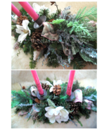 Winter Magnolia Centerpiece Victorian Ice ADD Candle Choice Designer Sil... - $89.00
