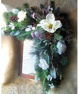 Frosty Corner Swag  or Capital Letter L Monogram Wreath Wintry Magnolia ... - $165.00