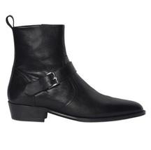 Handmade Men black leather boot, Men's side zipper monk strap around ankle boots - $179.99+