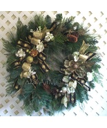 Winter Floral Wreath, Hollywood Regency Style, Designer Wall Hanging, Ch... - $229.00